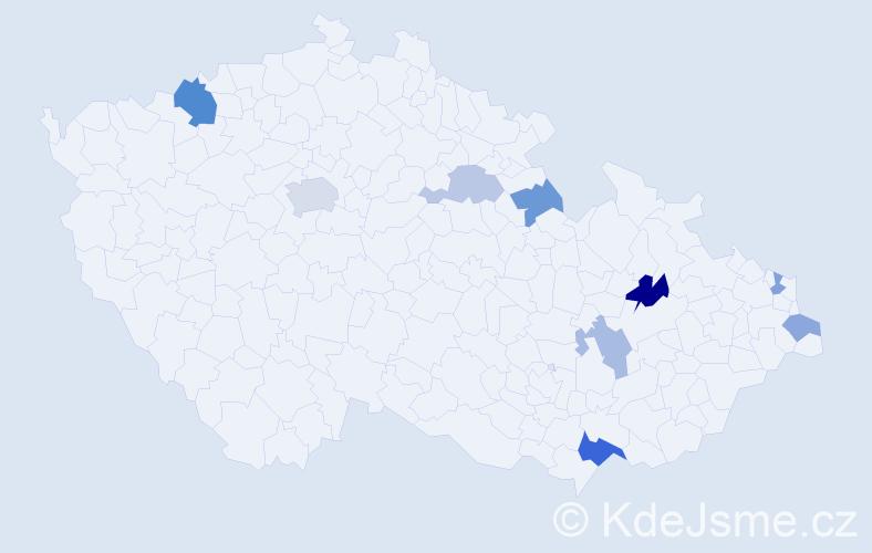 Příjmení: 'Kaňuk', počet výskytů 16 v celé ČR