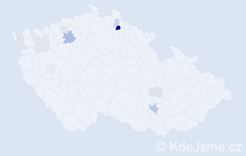 Příjmení: 'Hübelová', počet výskytů 28 v celé ČR