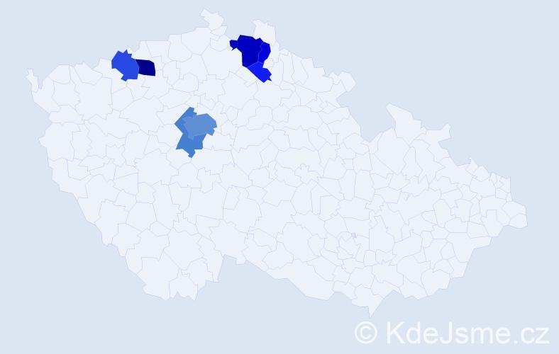 Příjmení: 'Hampacher', počet výskytů 26 v celé ČR