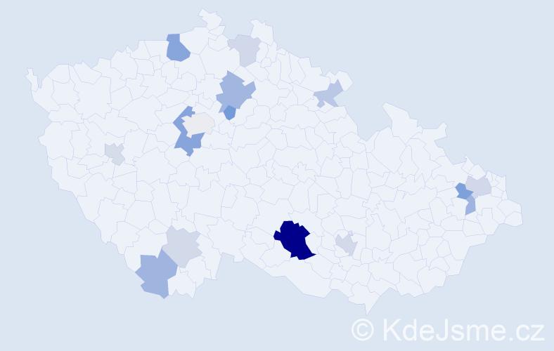 Příjmení: 'Čierna', počet výskytů 31 v celé ČR