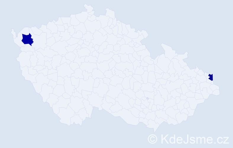 Příjmení: 'Debreceni', počet výskytů 6 v celé ČR