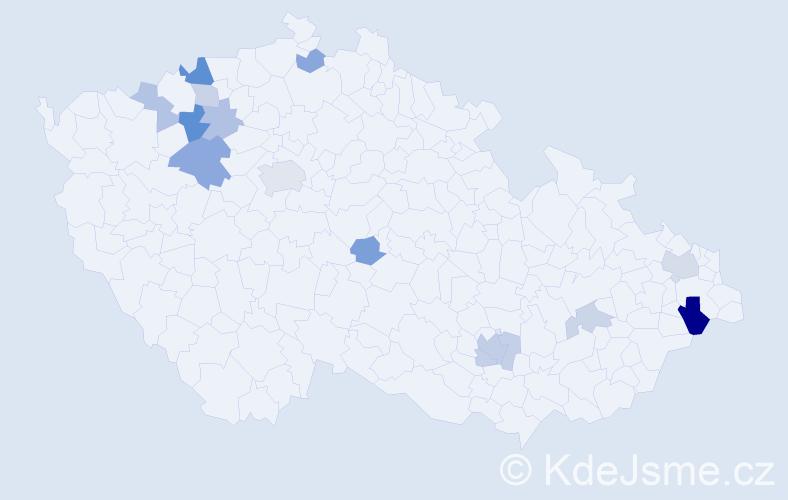 Příjmení: 'Kokšová', počet výskytů 28 v celé ČR