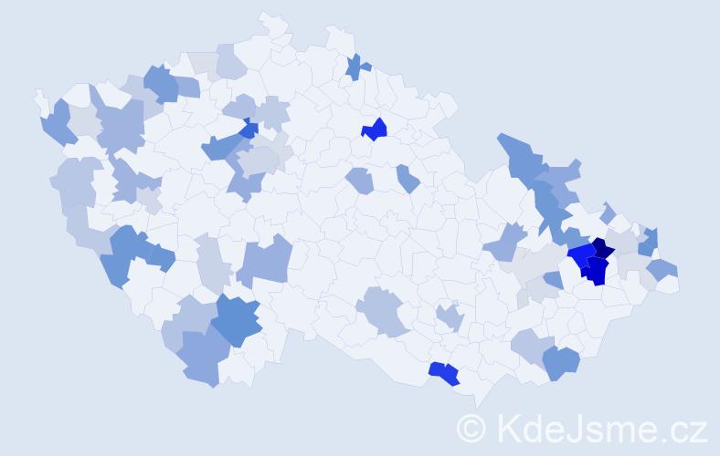 Příjmení: 'Ďuricová', počet výskytů 156 v celé ČR