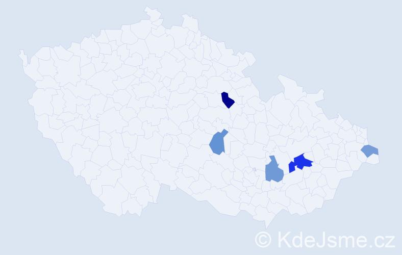 Příjmení: 'Čádková', počet výskytů 7 v celé ČR