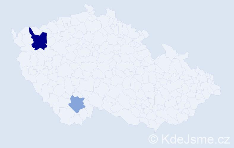 Příjmení: 'Klimajová', počet výskytů 4 v celé ČR