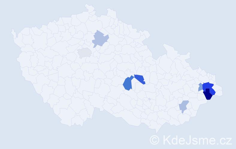 Příjmení: 'Cvíček', počet výskytů 15 v celé ČR