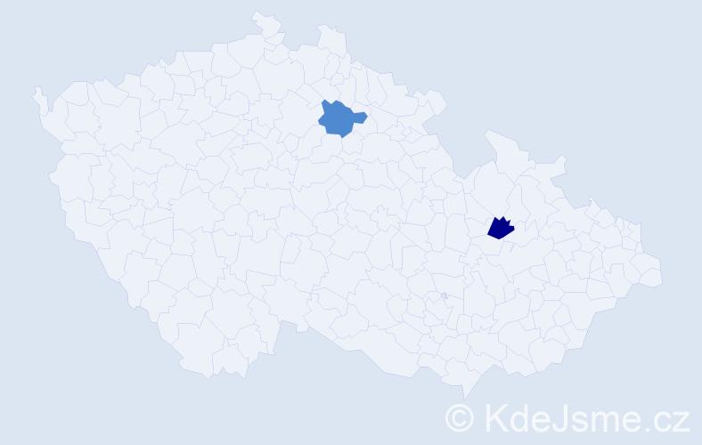 Příjmení: 'Hóz', počet výskytů 2 v celé ČR