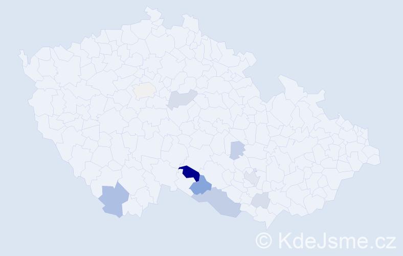 Příjmení: 'Šmikmátor', počet výskytů 26 v celé ČR