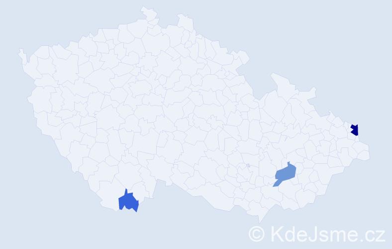 Příjmení: 'Illy', počet výskytů 9 v celé ČR