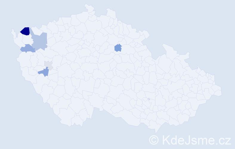 Příjmení: 'Lihl', počet výskytů 9 v celé ČR