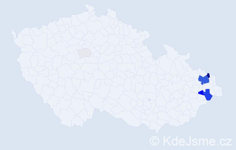 Příjmení: 'Čečivová', počet výskytů 13 v celé ČR