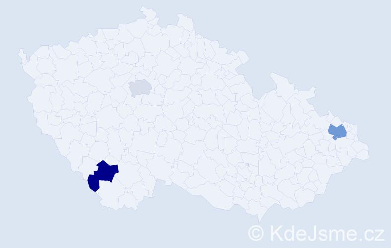 Příjmení: 'Ma', počet výskytů 4 v celé ČR