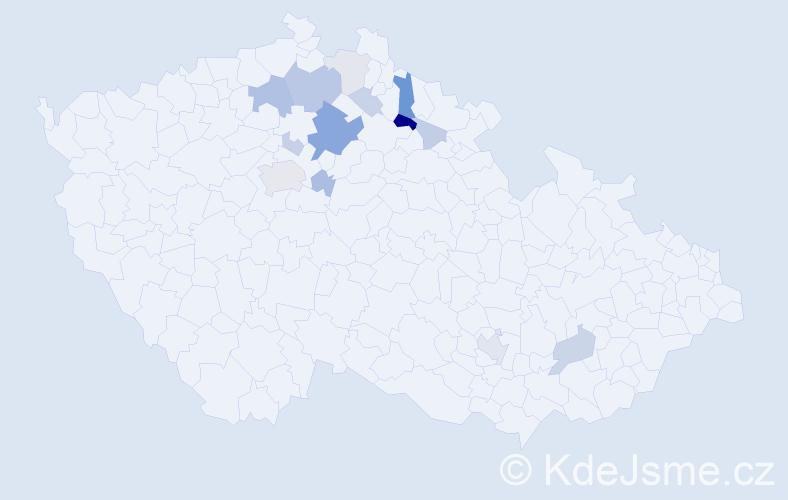 Příjmení: 'Kynych', počet výskytů 36 v celé ČR
