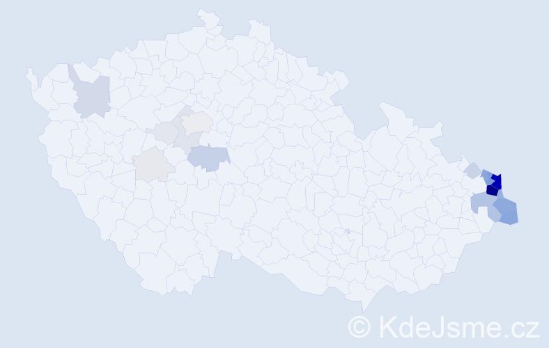 Příjmení: 'Feber', počet výskytů 139 v celé ČR