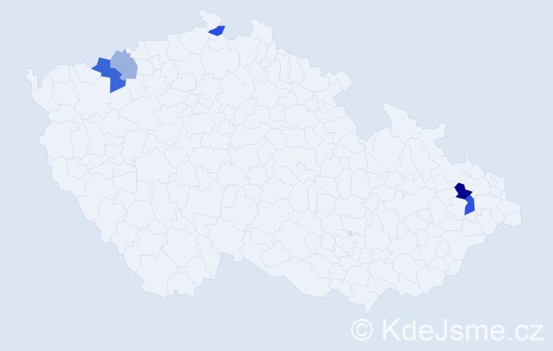 Příjmení: 'Bachárová', počet výskytů 8 v celé ČR