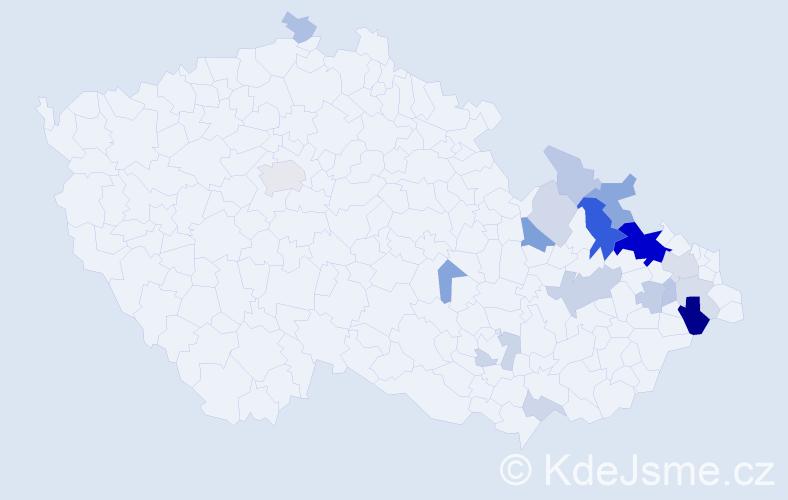 Příjmení: 'Hadámek', počet výskytů 46 v celé ČR