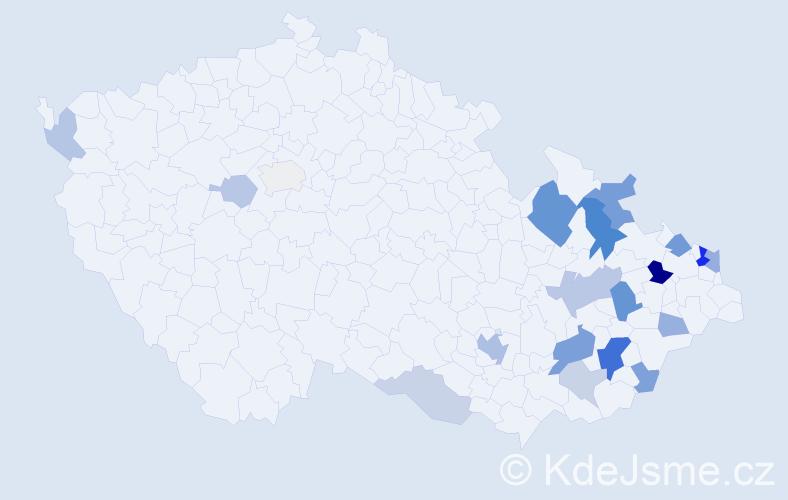 Příjmení: 'Keprdová', počet výskytů 48 v celé ČR