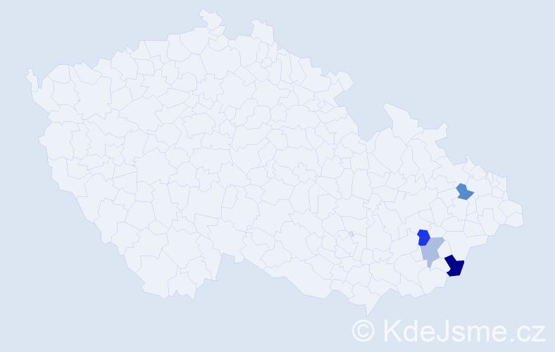 Příjmení: 'Ďulák', počet výskytů 21 v celé ČR