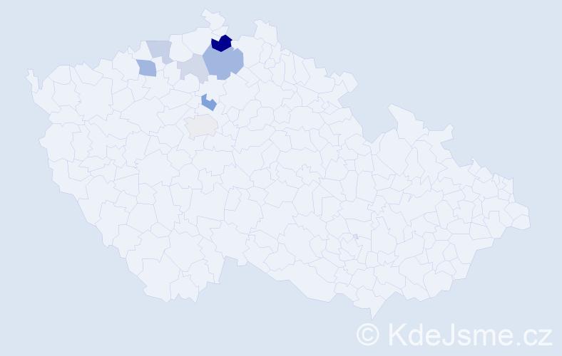 Příjmení: 'Kravcov', počet výskytů 20 v celé ČR