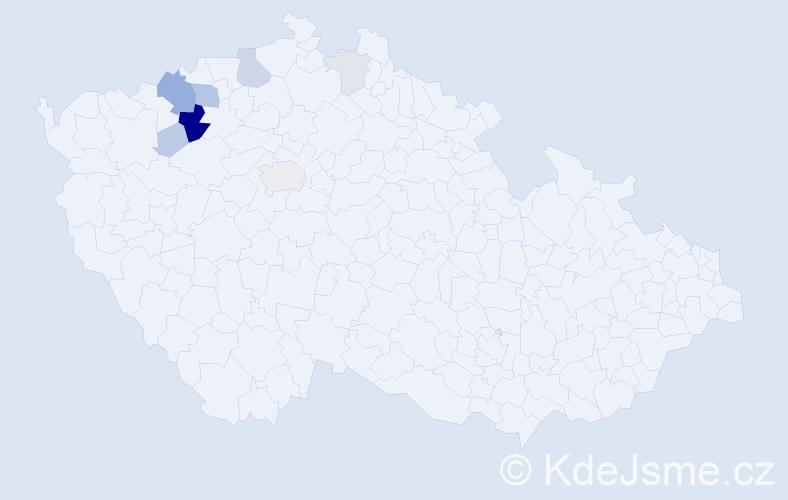 Příjmení: 'Kadetová', počet výskytů 38 v celé ČR