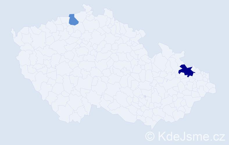 Příjmení: 'Ivanec', počet výskytů 3 v celé ČR