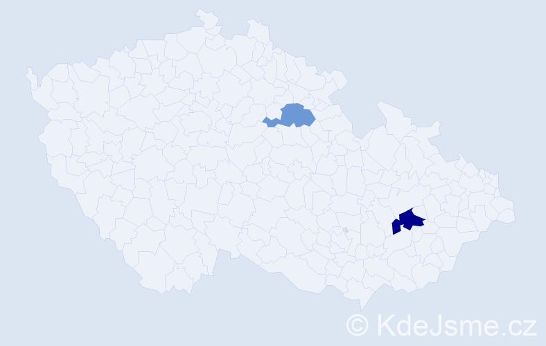 Příjmení: 'Havlin', počet výskytů 3 v celé ČR