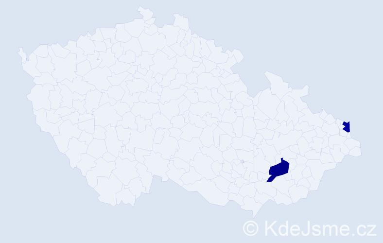 Příjmení: 'Infnerová', počet výskytů 2 v celé ČR