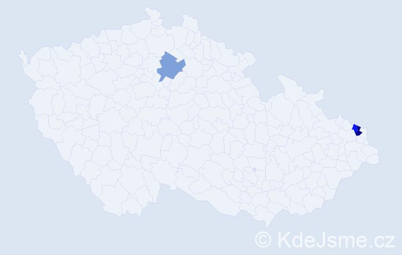 Příjmení: 'Gelenekyová', počet výskytů 4 v celé ČR