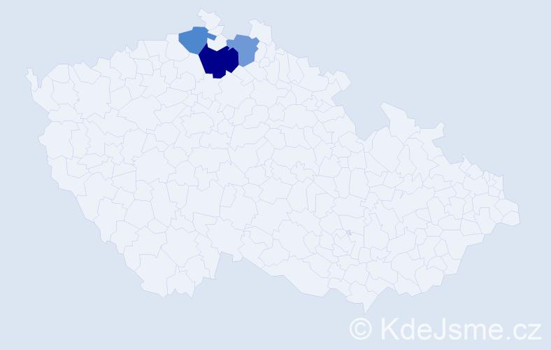 Příjmení: 'Juhn', počet výskytů 4 v celé ČR