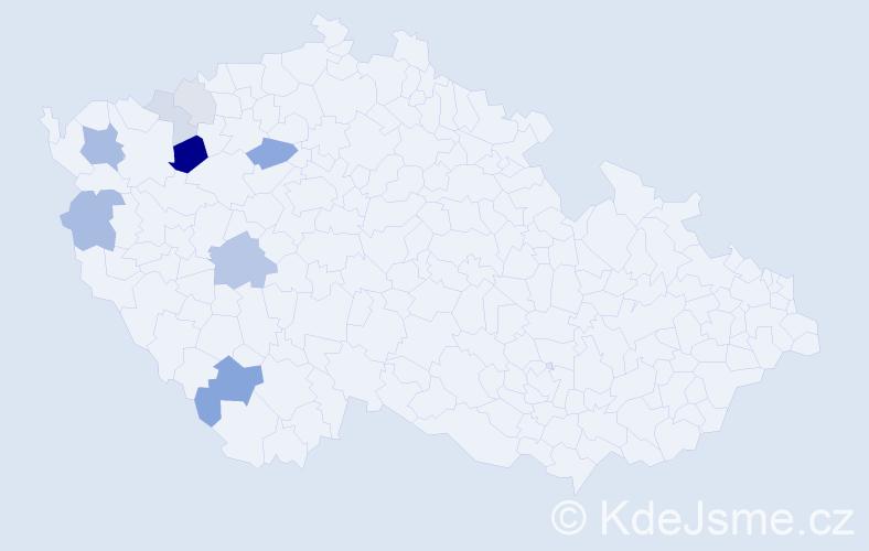 Příjmení: 'Čóka', počet výskytů 23 v celé ČR