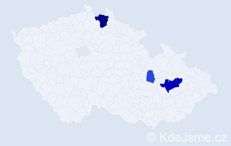 Příjmení: 'Čubrda', počet výskytů 14 v celé ČR