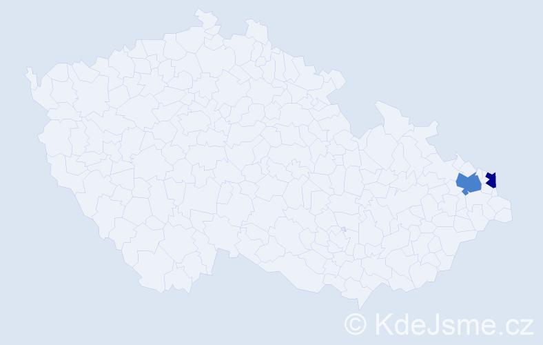 Příjmení: 'Haroníková', počet výskytů 5 v celé ČR