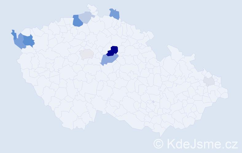 Příjmení: 'Bezděčný', počet výskytů 23 v celé ČR