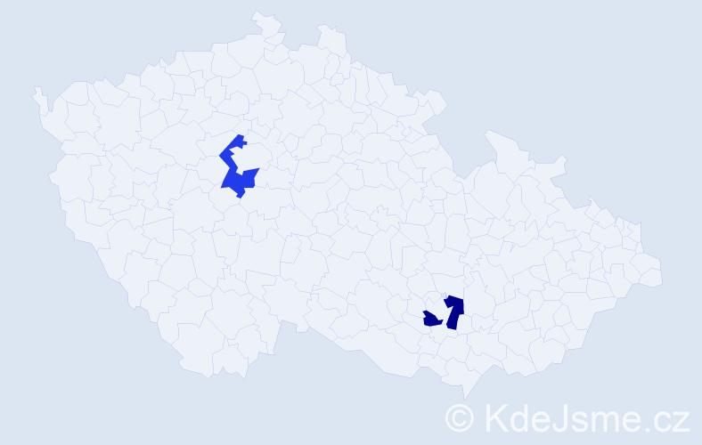 """Příjmení: '""""Cordeiro Da Silva""""', počet výskytů 2 v celé ČR"""