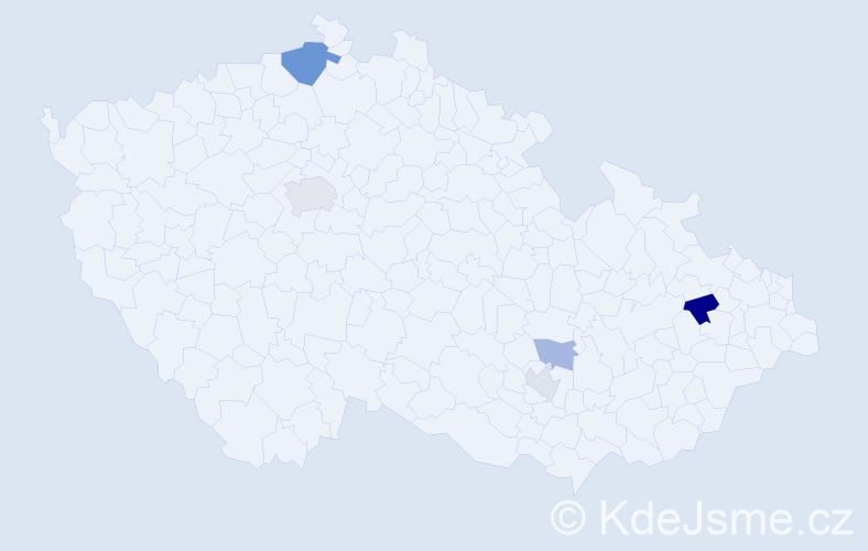 """Příjmení: '""""De Bruijn""""', počet výskytů 9 v celé ČR"""