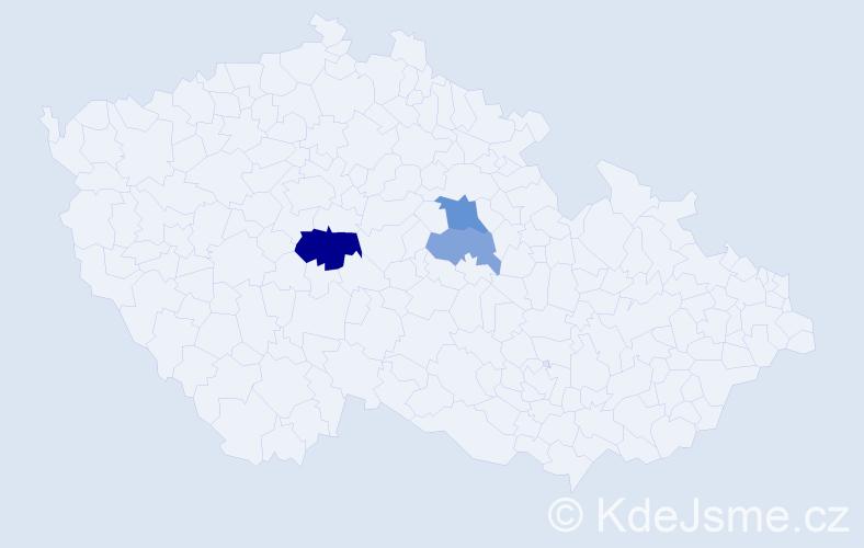 Příjmení: 'Grešla', počet výskytů 6 v celé ČR