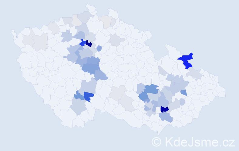 Příjmení: 'Cikánek', počet výskytů 195 v celé ČR