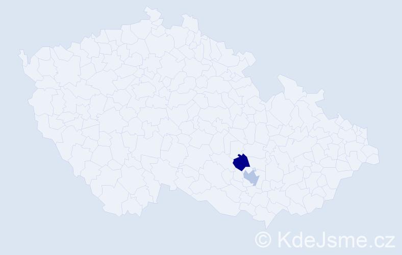 Příjmení: 'Cídl', počet výskytů 8 v celé ČR