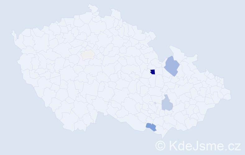 Příjmení: 'Czajkowski', počet výskytů 16 v celé ČR