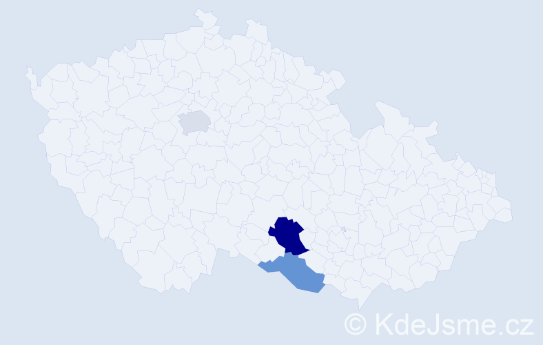 Příjmení: 'Donutil', počet výskytů 13 v celé ČR