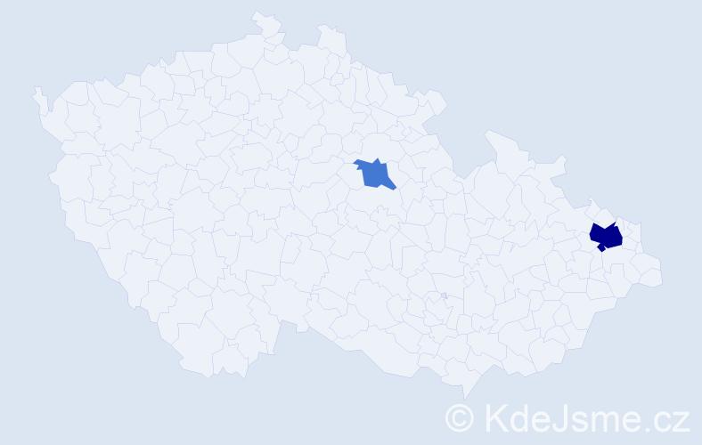 Příjmení: 'Bohdalovská', počet výskytů 5 v celé ČR