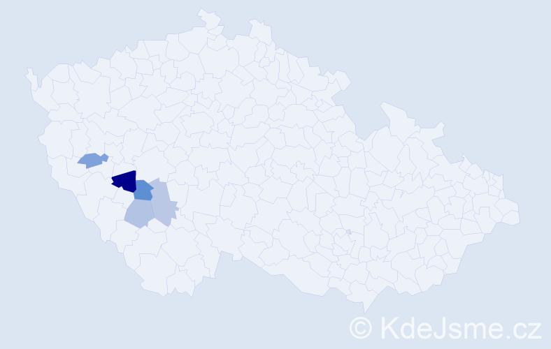 Příjmení: 'Čus', počet výskytů 6 v celé ČR