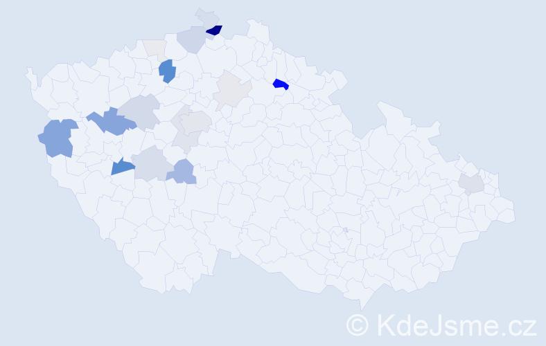 Příjmení: 'Deus', počet výskytů 65 v celé ČR