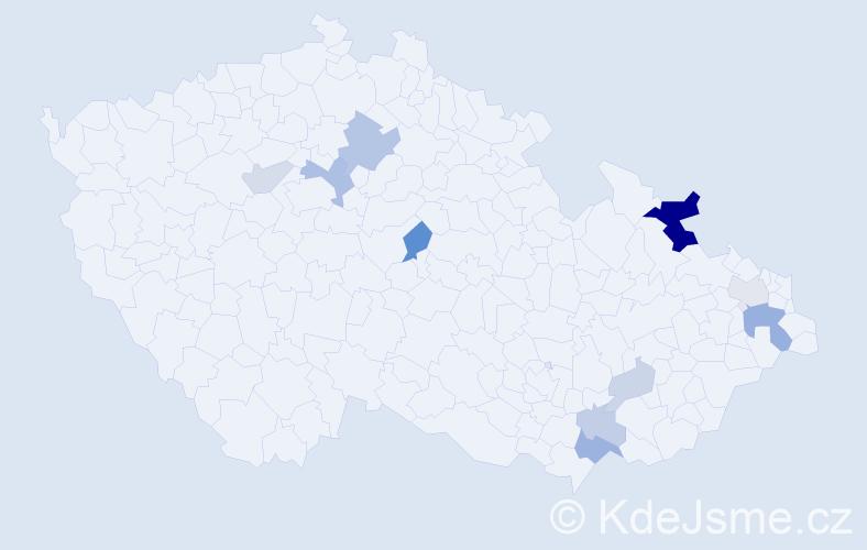 Příjmení: 'Balažíková', počet výskytů 23 v celé ČR
