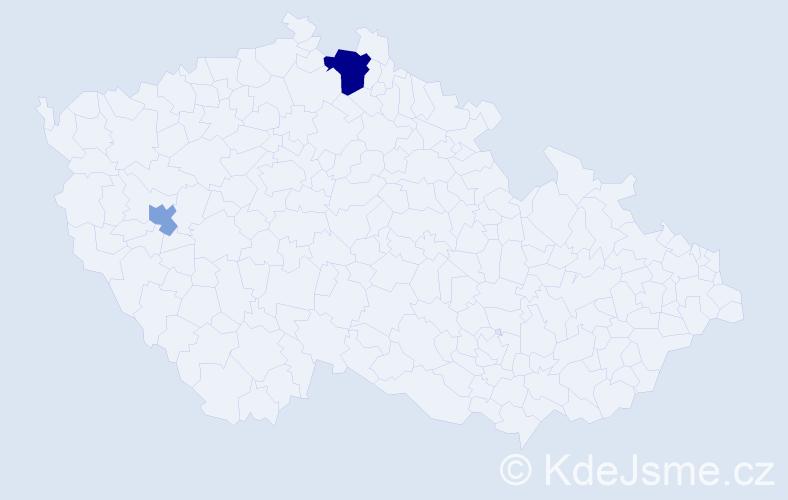 Příjmení: 'Kendiková', počet výskytů 4 v celé ČR