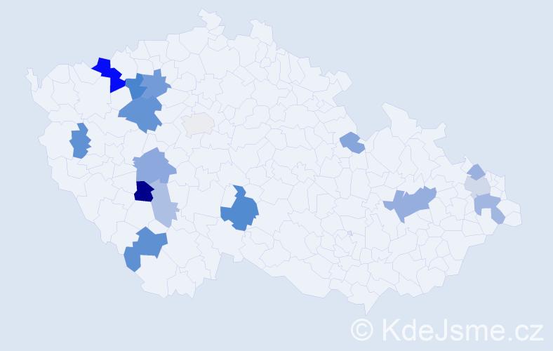 Příjmení: 'Klásová', počet výskytů 33 v celé ČR