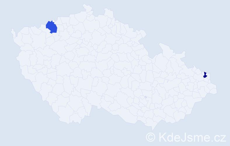 Příjmení: 'Garábová', počet výskytů 2 v celé ČR