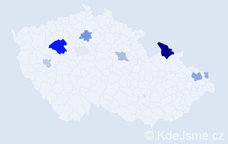 Příjmení: 'Kisel', počet výskytů 14 v celé ČR