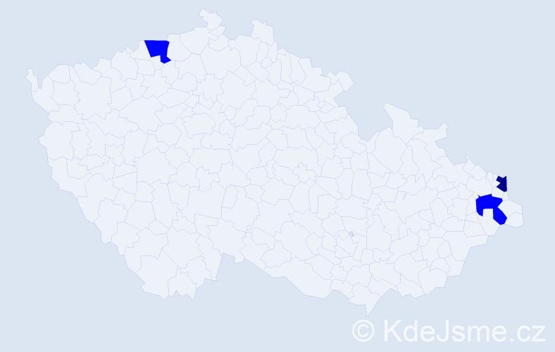 Příjmení: 'Kafanová', počet výskytů 9 v celé ČR