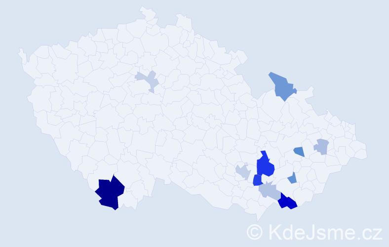 Příjmení: 'Kehm', počet výskytů 29 v celé ČR